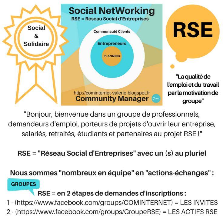 """RSE = """"""""Réseau Social d'Entreprises"""""""" avec un (s) au pluriel  RSE = en 2 étapes de demandes d'inscriptions :  1 - (https://www.facebook.com/groups/COMINTERNET) = LES INVITES 2 - (https://www.facebook.com/groups/GroupeRSE) = LES ACTIFS RSE  Bonjour, bienvenue dans un groupe de professionnels, demandeurs d'emploi, porteurs de projets d'ouvrir leur entreprise, salariés, retraités, étudiants et partenaires au projet RSE.  Nous sommes """"nombreux en équipe"""" en """"actions-échanges"""" !"""