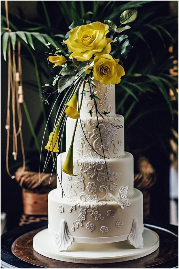 Wedding cake with yellow flowers by Ben The Cake Man (photo - Steve Gerrard Photography)