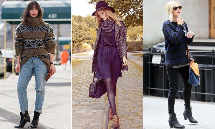 С чем носить кожаные ботильоны на каблуке осенью