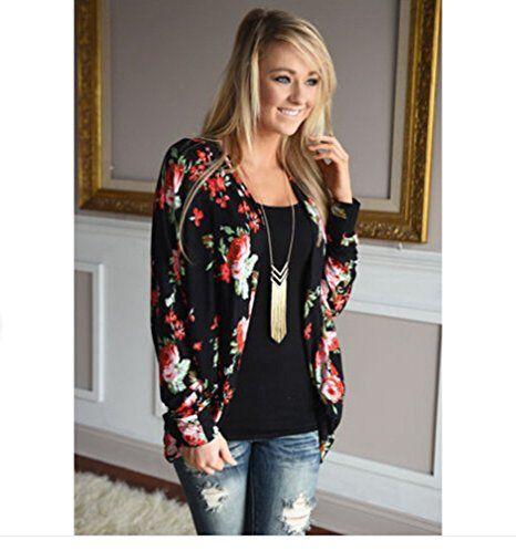 ZKOO Donne Moda Rose Stampe Blazer Cardigan Maniche Lunghe Giacca: Amazon.it: Abbigliamento