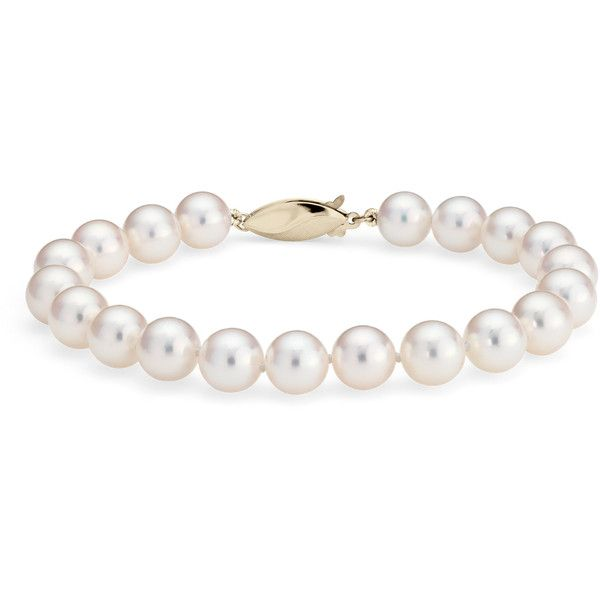 Blue Nile Classic Akoya Cultured Pearl Bracelet (€670) ❤ liked on Polyvore