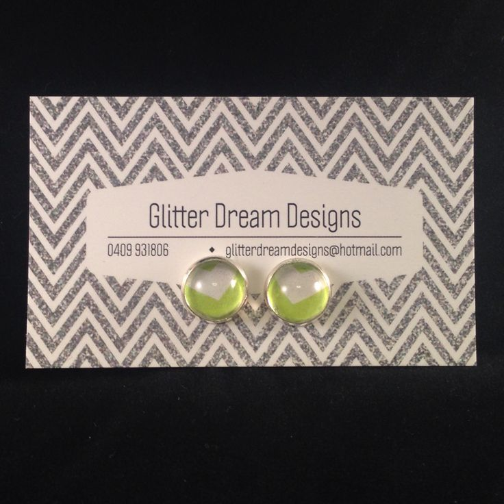 Order Code D12 Green Cabochon Earrings