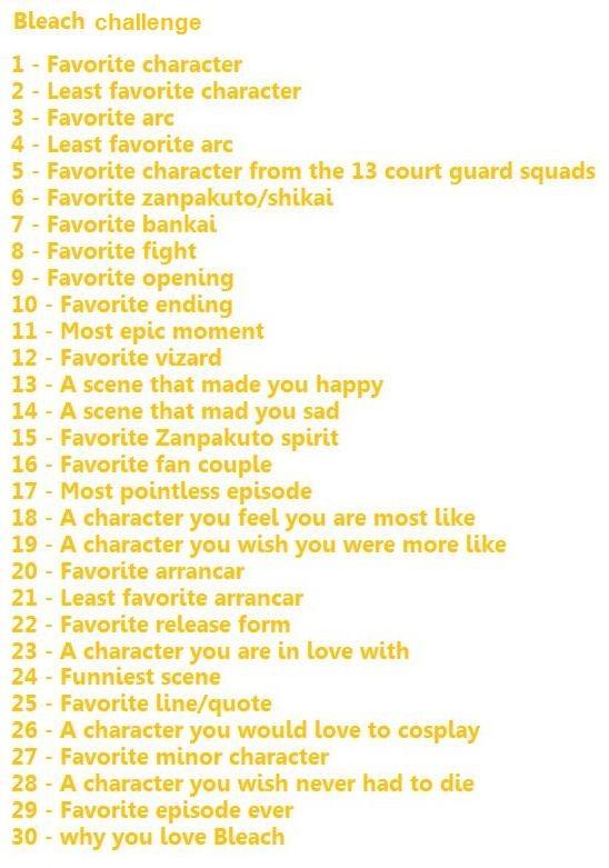 """1.Uryuu Ishida 2.Kon 3.Soul Society arc 4.The Bount arc 5.Byakuya Kuchiki 6. Senbonzakura 7.Daiguren Hyourinmaru 8.Byakuya vs Ichigo (SSA) 9.Ranbu no Melody 10.Life Is Like A Boat 11.Grimmjow's """"entrance""""(HMA) 12.Shinji 13.Ichigo reunites with Orihime 14.Gin's death 15.Tensa Zangetsu 16.IchiRuki all the way! 17.Karakuraizer 18.Ichigo 19.Toshiro 20.Starrk 21.Barrigan(?) 22.Pantera 23.Muramasa"""