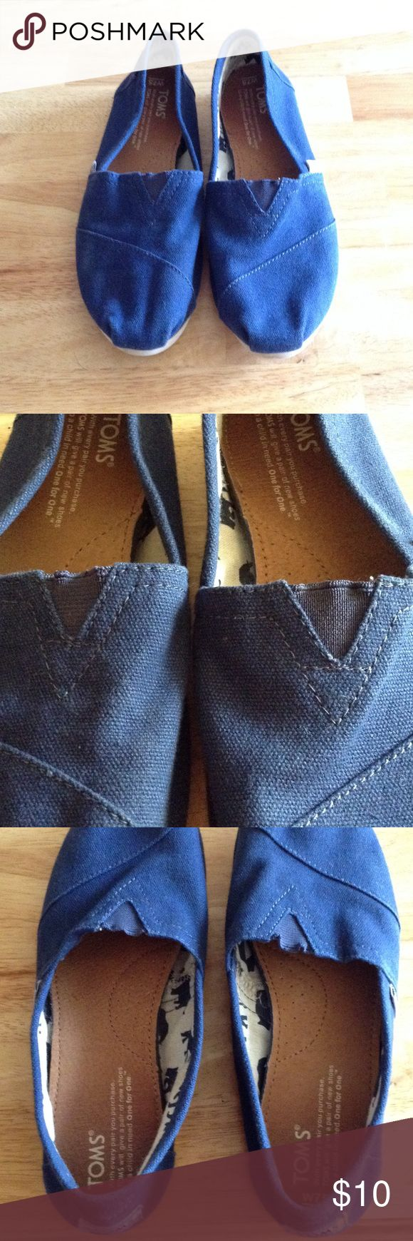 Navy Blue Toms Navy Blue Toms. Size 7.5. Elastic is stretched out on both shoes, but there are barely any other signs of wear. TOMS Shoes Flats & Loafers