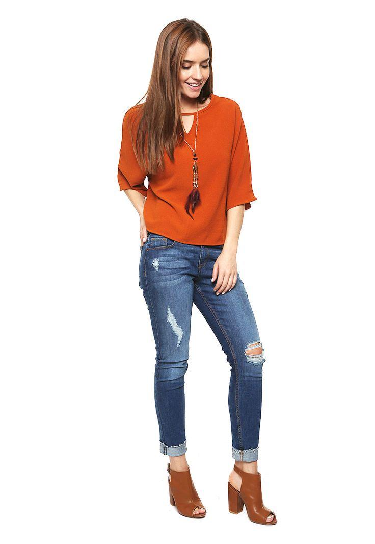 Blusa Naranja con Collar