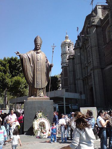 The Basilica of Guadalupe: Statue of Pope John Paul II