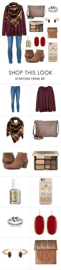 """""""Autumn Stroll """" by nhumphrey ❤️ liked on Polyvore featuring Frame Denim, Peach Couture, Kate Spade, Lucky Brand, Too Faced Cosmetics, Essie, Casetify, Avery, Kendra Scott and tarte"""