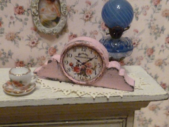Miniature Shabby Chic Pink Mantel Clock for Dollhouse