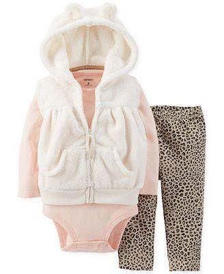 Carter's Baby Girls' 3-Piece Vest, Bodysuit & Pants Set