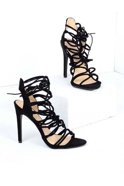 Shane - lace up heels black suede