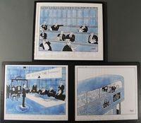 Lot 692 JAK, 3 pen and wash cartoons, 1990