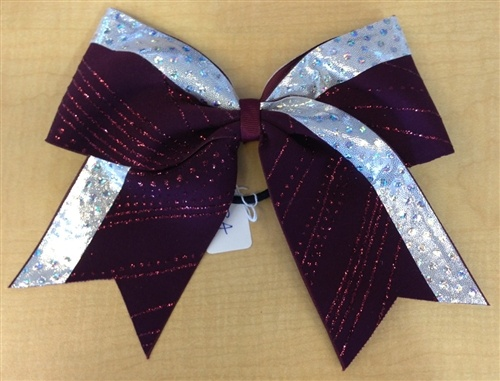 Maroon and Metallic Silver Bow by Empire Cheer, $12.00 #cheerleading #cheerbow #