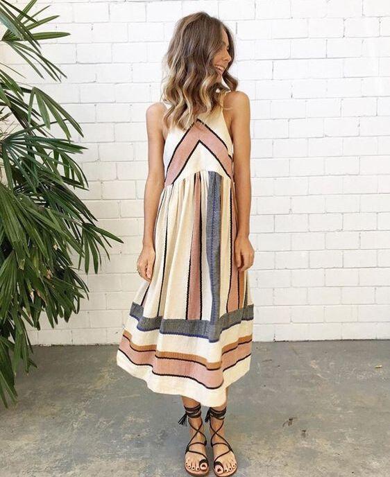 593eeb447b 2XL Plus Size O Neck Stripe Patchwork Women Lady Summer Dress Beach Clothing  Sleeveless Casual Party Dress New Cotton Sundress