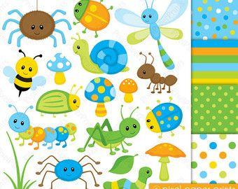 Cute bugs Clipart and Digital Paper Set por pixelpaperprints