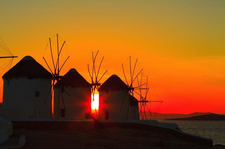 Sunset over the windmills of Mykonos