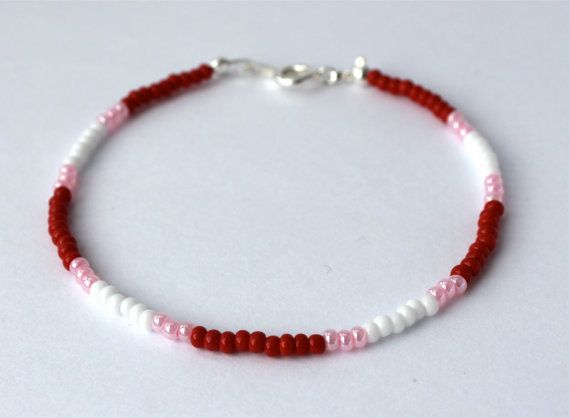 Seed Bead Bracelet-Bracelet with Meaning-Wire Bracelet-Tassel-Silver-Courage-Friendship-Purity-Red-Light Pink- White