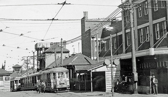 Sydney Tramway Museum 51;   Museum's photo of entrance to Newtown Tram Sheds.  This entrance was recently incorporated into the railway station (to the left) as its new entrance. #Newtown