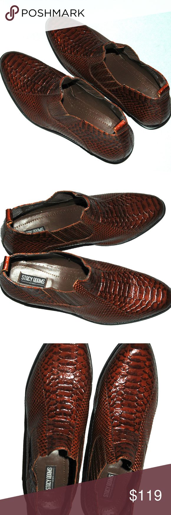 Stacy Adams Mens 11 M Shoes Brown Exotic Leather Beautiful and rare pair of Stacy Adams men's leather snakeskin pattern dress shoes in a size 11 M in very good condition. They were made in India and have an exquisite look and feel. Please view all photos to see up close and thank you for looking! Stacy Adams Shoes Loafers & Slip-Ons