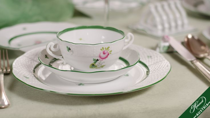 This Habsburg Rose pattern evoking the atmosphere of 19th century civic homes with their striped wall-papers, furniture and fine lace covers is the favourite of customers even today by virtue of its gentleness and modesty.  http://herend.at/portfolio/vienna-rose-herend-sets-vrh/