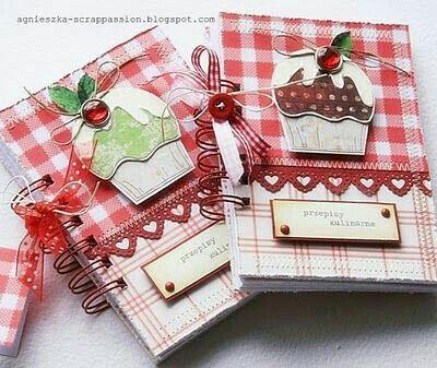 Caderno de receita Vermelho cupcake