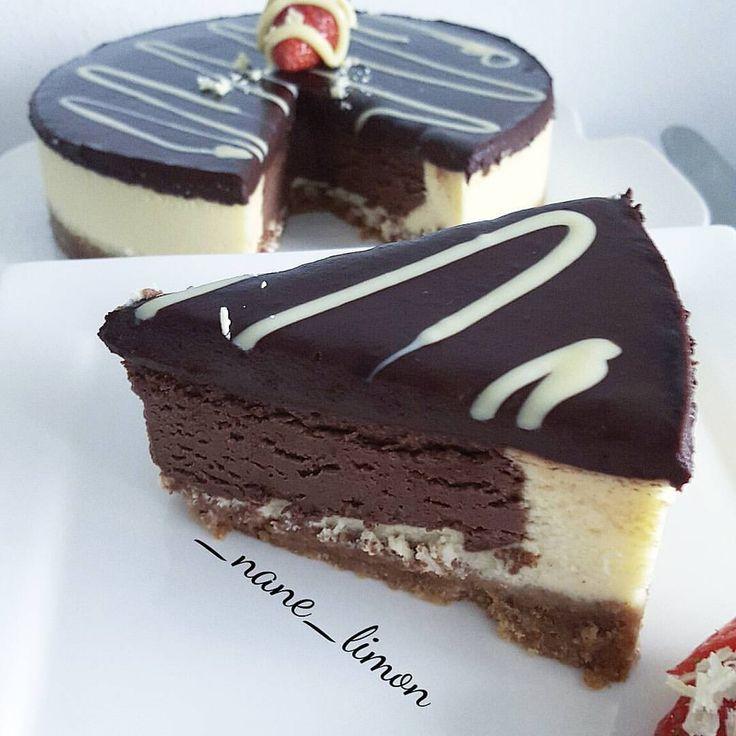 "193 Beğenme, 14 Yorum - Instagram'da zehra (@_nane_limon): ""Cikolatali cheesecake 😍🍫🍫 Cheesecake..Tabani icin..2 paket yulafli biskuvi...125 gr tereyag ..…"""