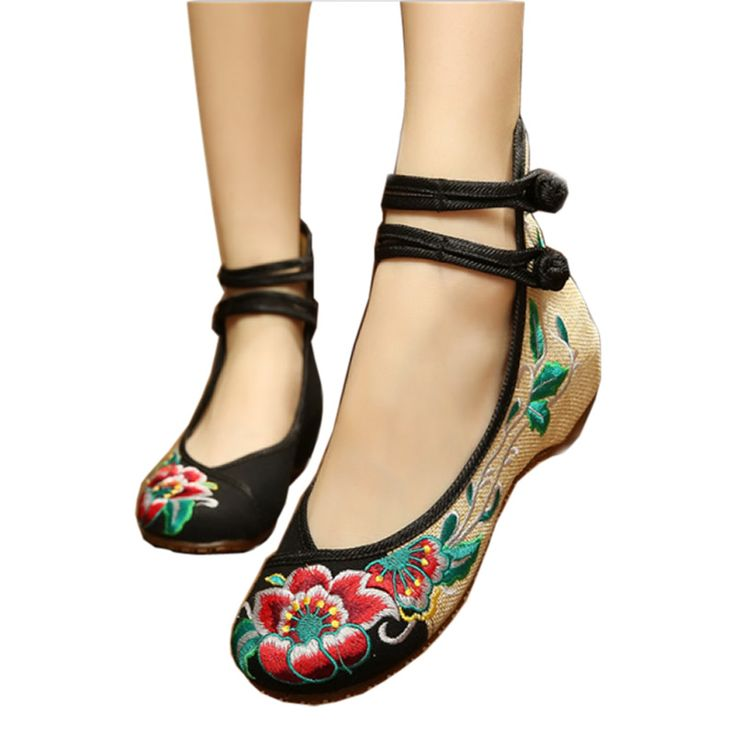 Ballerinas Dance Shoes Women Autumn 2016 Chinese Embroidery Shoes Flats Strap Old Beijing Canvas Shoes Mary Janes Spring Boots //Price: $US $12.53 & FREE Shipping //     #bags