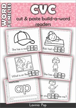 Word Families & Sight Word cut & paste readers. They are ideal for emergent readers as the text is very simple and comprised of basic sight words and decodable words and is also strongly supported by images.