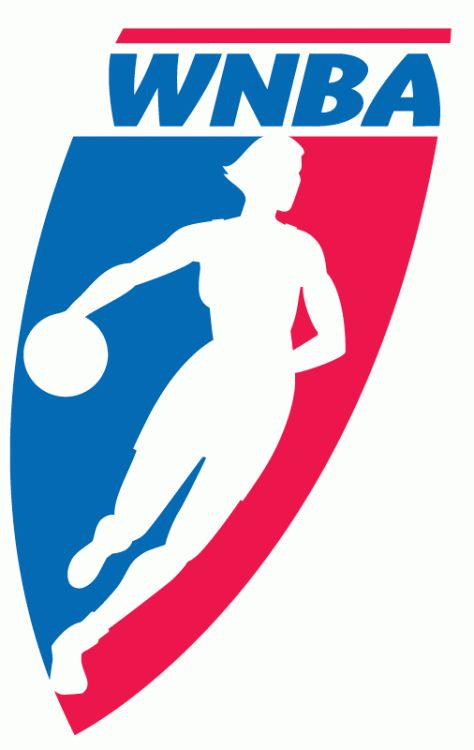 WNBA Primary Logo (1997) - A woman dribbling a basketball on a red and blue shield
