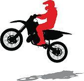 Silhouettes Rider participates motocross championship. Vector illustration