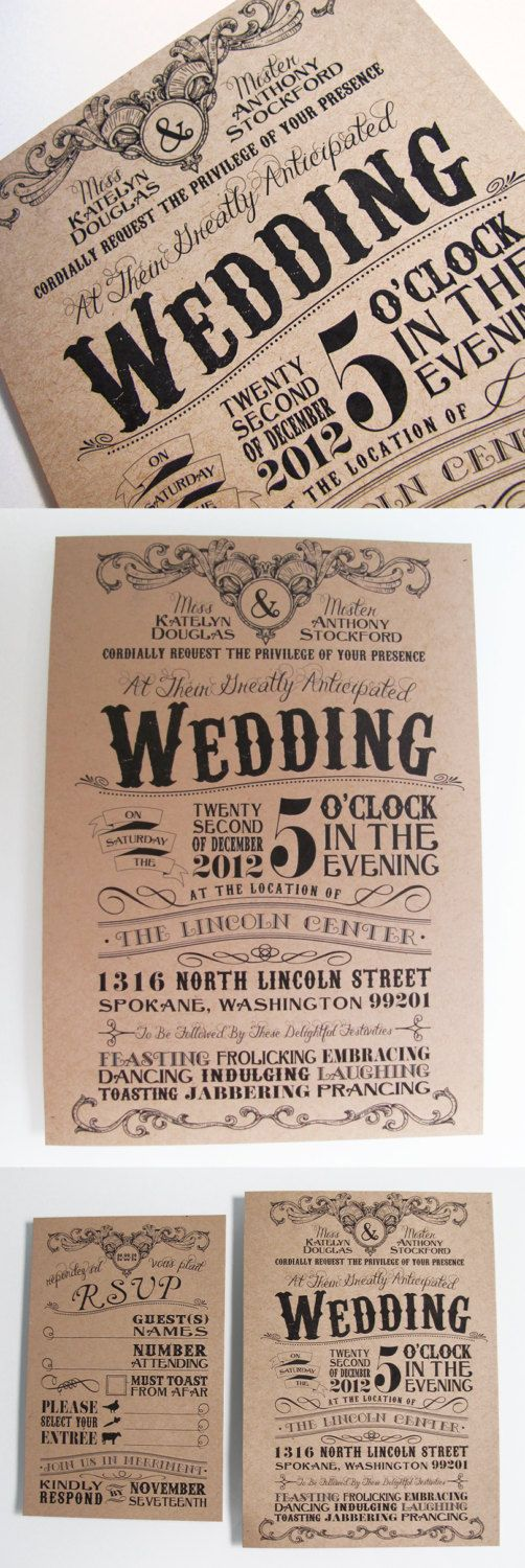 ideas for country wedding invitations%0A Vintage Typography Custom Designed Theater Wedding Invitation Set with  Antique Influence