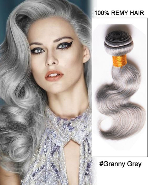 """18"""" Granny Grey Weave Body Wave Weft Remy Human …"""
