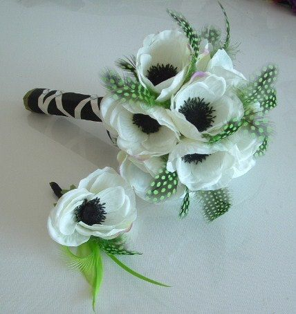 LOVE THIS. Anemone and Feather  Bouquet and Matching by ynasbridal on Etsy, $60.00