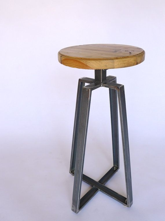 Industrial Channel Iron Stool / Welded frame and reclaimed wood seat / 1930's factory inspired furniture