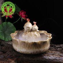 Decoração de mesa de cerâmica fonte de água umidificador bonsai feng shui ornamentos tanque de peixes aquecedores de água(China (Mainland))