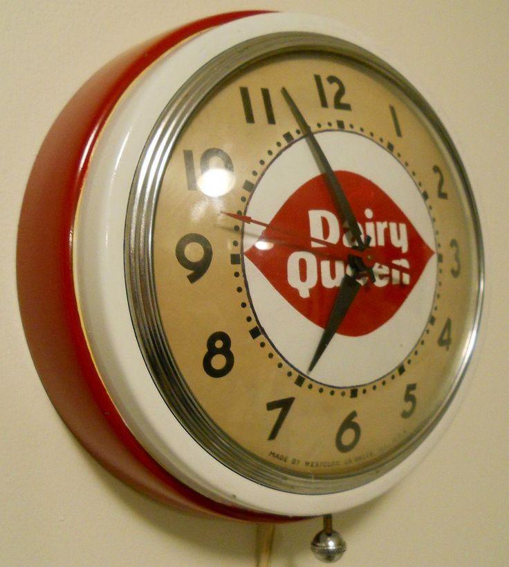 Dairy Queen Antique Clock  (Vintage Diner Advertising Clocks, Ice Cream Parlor, Metal Case)