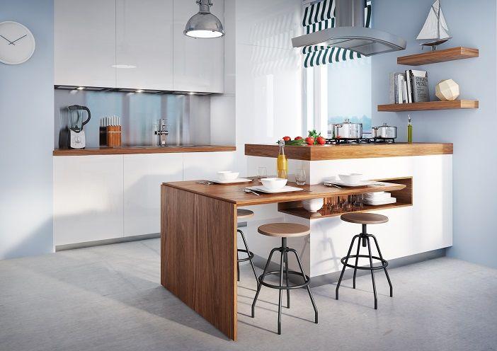 """Kapitańska 35 Gdynia Przykładowa aranżacja aneksu kuchennego. Ponadczasowa biel i jasne drewno, do tego marynistyczne dodatki, zestawione z """"fabrycznymi"""" hokerami oraz lampą vintage sprawią, że kuchnia nabiera charakteru, a jednocześnie pozostaje przytulna i praktyczna. BMC Budujemy Twoje marzenia"""