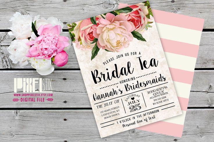 Tea Stained Floral Bridal Tea Invitation, Bridesmaid Luncheon Invite, Vintage Peony - CUSTOMIZABLE & PRINTABLE INVITATION - Cream and Blush by shopPIXELSTIX on Etsy https://www.etsy.com/listing/233564008/tea-stained-floral-bridal-tea-invitation