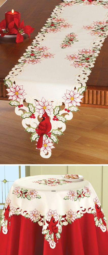 Holiday Cardinal Embroidered Table Linens