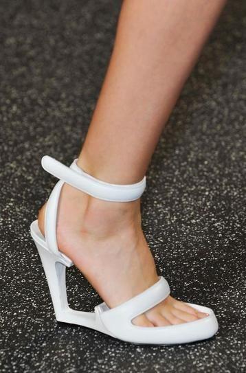 Alexander Wang white open wedge heels - spring 2015 runway