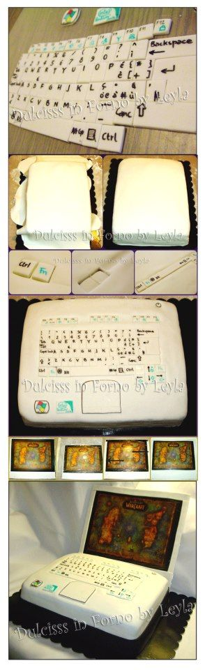 Laptop cake. It is created by http://blog.giallozafferano.it/dulcisinforno/torta-pc-o-notebook-tutorial-passo-passo-pasta-di-zuccher