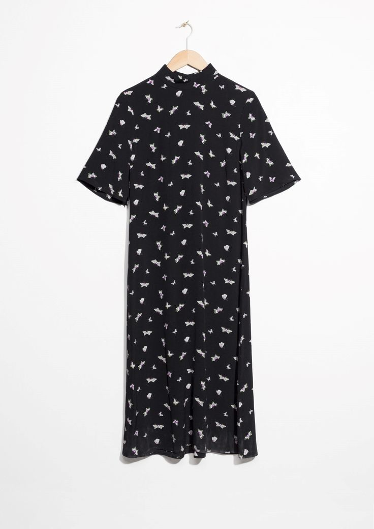 Other Stories image 1 of Mock Neck Dress in Black Butterfly