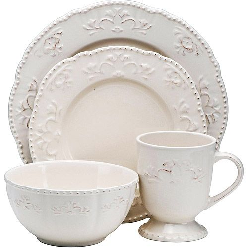 Cute and cheap dinnerware - Better Homes and Gardens Medallion Wreath 16-Piece Dinnerware Set, Cream Mist