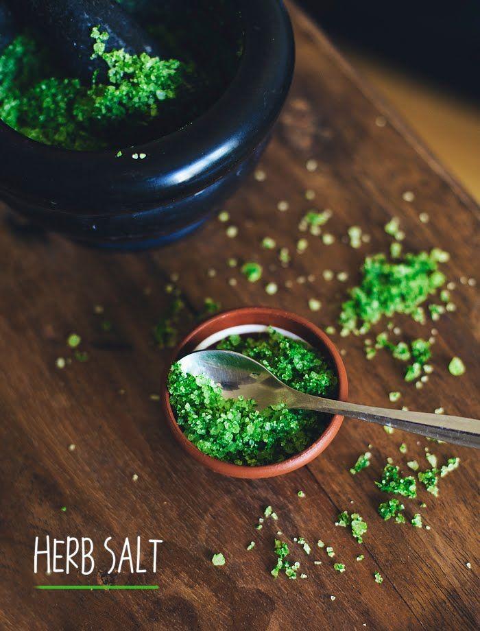 Herb salt: Herb Salt Recipe, Herbs And Spices, Salt Herbs, Fresh Herbs, Flavored Salts Recipes, Herbed Salt, Herb Salts