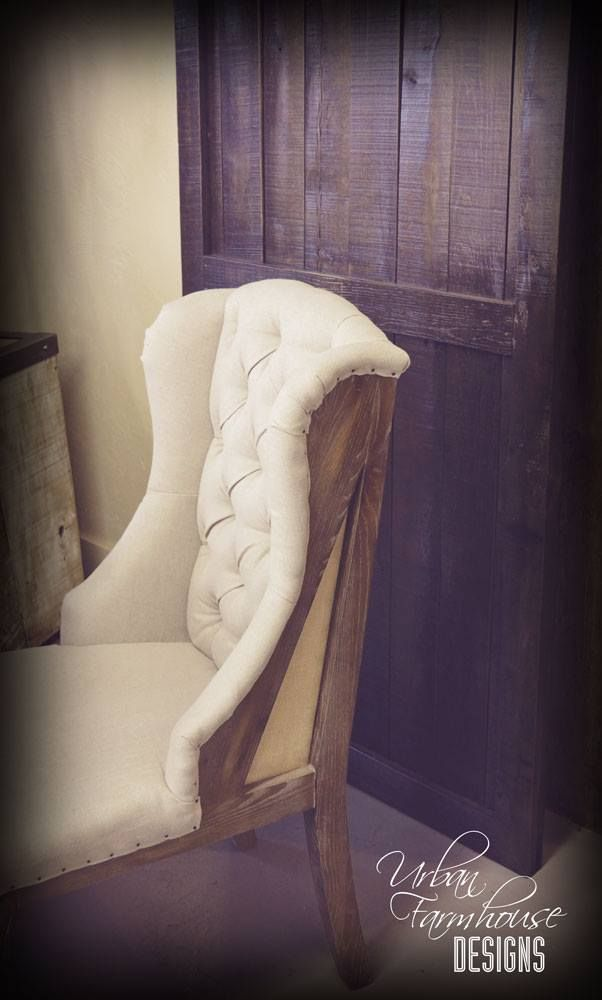 One of my personal Favorites! Deconstructed back with linen seat and burlap #UFDlove #UFD #urbanfarmhousedesigns