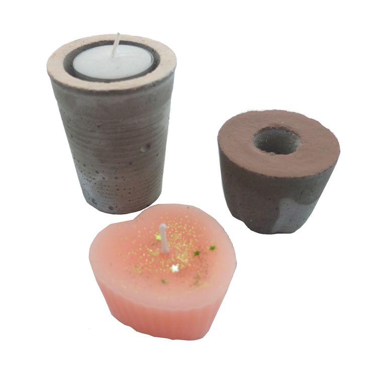 Trio-beton in bruin, huidsroze en oranje/roze met glitters. Kandelaars en kaarsen kun je in deze donkere tijd nooit genoeg hebben. Vanaf vandaag ook via: www.radijsje.nl te koop.