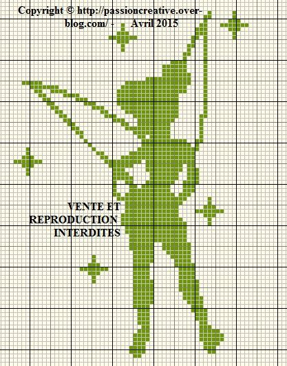 Grille gratuite point de croix : Fée clochette monochrome vert - Le blog de Isabelle