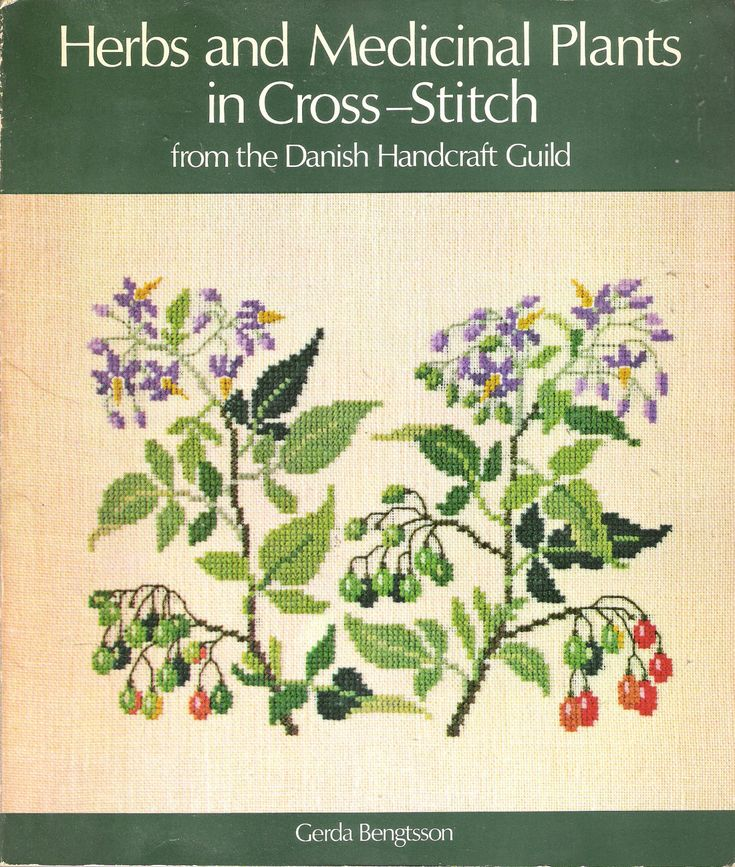 Vintage 1978 Herbs and Medicinal Plants in Cross-Stitch from the Danish Handicraft Guild by Gerda Bengtsson Soft Bound Book by Recycledelic1 on Etsy