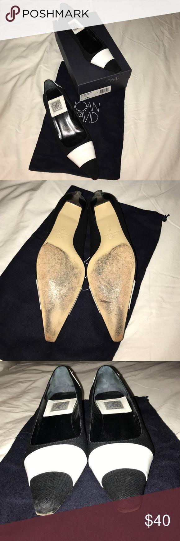 "Joan & David black linen & white leather heels Joan & David black linen & white leather kitten 1.5"" heels Joan & David Shoes Heels"