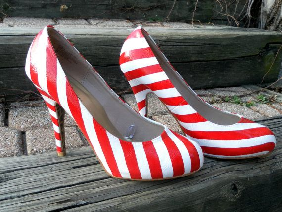 Size 9 Custom Hand Painted 'Candy Cane' striped High Heel Shoes. $125.00, via Etsy.