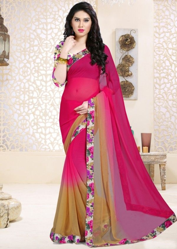 Pink and beige chiffon printed saree